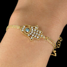 Blue Evil Eye Hamsa Hand made with Swarovski Crystal Jewish Fatima Gold Bracelet