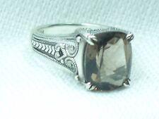 Estate Vintage Sterling Silver CNA Smokey Topaz Filigree Ring Brown Quartz