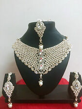 Indian Bollywood Necklace Earrings Gold Fashion Bridal Costume Jewellery Set