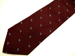 """Tommy Hilfiger Mens Necktie Tie Maroon Red Blue Geometric Silk 59"""" Career"""