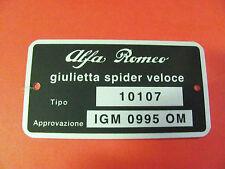 TARGHETTA DATI ALFA ROMEO GIULIETTA SPIDER VELOCE 10107