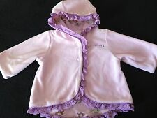 New Anne Geddes Baby Girls Pink Purple Velour Hoodie Jacket 0-3 Months RARE