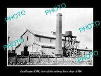 OLD LARGE HISTORIC PHOTO OF DENILIQUIN NSW, THE RAILWAY LOCO SHOP c1900
