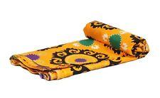 Suzani Embroidery Hand Block Print 100% Cotton 5 Yard Natural Floral Fabric