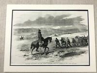 1855 Antique Military Print Crimean War Soldiers Mounted Police Officer Horse
