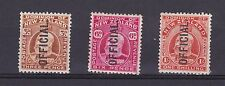 DB691) New Zealand 1907 Officials. 3d, 6d & 1/- mint lightly hinged