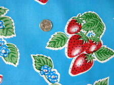 AQUA BLUE STRAWBERRY FOREVER RETRO KITCHEN PATIO OILCLOTH VINYL TABLECLOTH 48x60