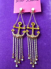 Betsey Johnson Authentic NWT Gold-Tone Pave Anchor & Fringe Chandelier Earrings