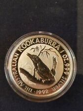 1oz  1992  Perth Mint  Kookaburra Silver Coin . As new in Capsule