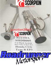 """Scorpion Honda Civic Tipo R EP3 Sistema de escape de acero no res 4"""" cola de gato de vuelta"""