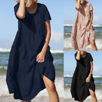 Mode Femme Robe 100% coton Couleur Unie Manche Courte Couture Poche Dresse Plus