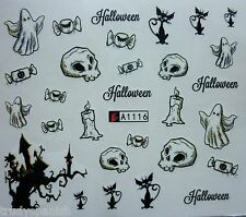 Nail Art Water Decals Stickers Halloween Skull Cat Ghost Tree Gel Polish (A116)