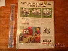 1951 Philco Balanced Beam Television Ad 10x14 in plastic sleeve