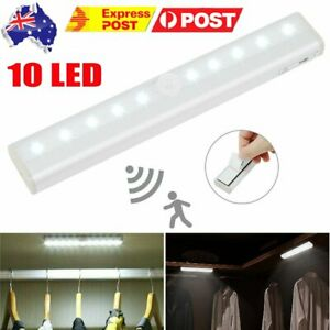 AU 2PCS 10 LED Motion Sensor PIR Light Battery Powered Night Light Closet Stair