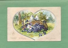 DOVES/BIRDS, FORGET-ME-NOTS On RAPHAEL TUCK Vintage 1913 BIRTHDAY Postcard
