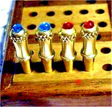"4 Glowing ""Crown Jewel"" Cribbage Board Pegs Brass Metal Pegs, Velvet Pouch,USA b"