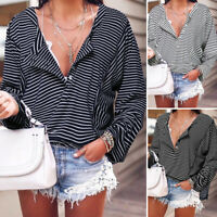 ZANZEA Femme Shirt Manche Longue Bande Casual en vrac Boutons Haut Tops Plus