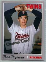 BERT BLYLEVEN MINNESOTA TWINS 1970 STYLE CUSTOM MADE BASEBALL CARD BLANK BACK