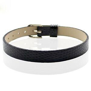 10 Black Snake Pattern Faux Leather Bracelet Wristband Fit 8mm DIY Slide Charm