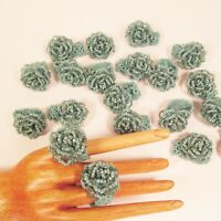 20 PCS Beaded Turquoise Color Small Rose Flower Stretch Rings Party Favors