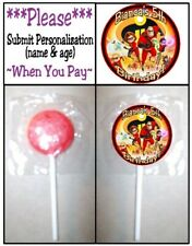 24 The Incredibles Birthday Party Baby Shower Round Lollipop Stickers