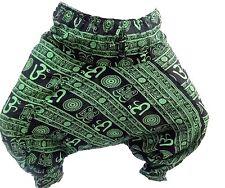 Om Print Green Men Harem Pants Indian Genie Gypsy Hippie AliBaba Baggy Trousers