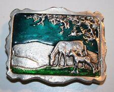Vintage Mother Horse & Foal Colt Solid Brass & Enamel Belt Buckle Rare