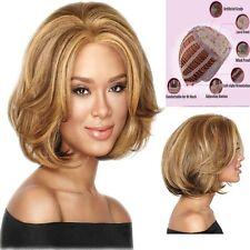 Damen BOB Perücke Blonde Glatt Haar Wig Perücke Echthaar Extensions Natürliche