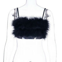 Women Faux Fur Crop Top Bustier Furry Spaghetti Strap Vest Tank Cami Punk Black