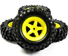 A960023 1/10 Scale Off Road Rock Crawler Wheel and Tyre 4 Yellow Plastic 5 Spoke