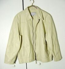 Vtg Wilsons M Julian White Cream Color Leather Bomber Jacket Sz XL /2XL