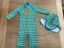 John Lewis Toddler Sun Swimming Beach Suit Green Jaguar 2-3 Years VGUC