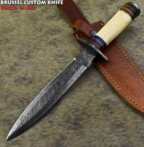 Brussel Custom Handmade Damascus Steel Camel Bone Art Hunting Bowie Knife