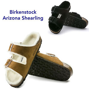 Women Birkenstock Arizona Shearling Adjustable Slide Sandals Fur Lining NEW