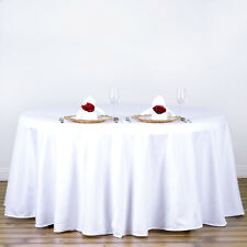 """5 WHITE 120"""" ROUND POLYESTER TABLECLOTHS Wedding Catering Restaurant Supplies"""