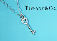 Tiffany & Co Sterling Silver Keys Small Heart Key Oval Link Necklace