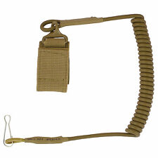 Bulldog Secure Coiled Nylon Military Army Pistol Wallet Keyring Lanyard Coyote