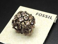 Fossil Bronze Tone Crystal Stretch Ring New! NWT