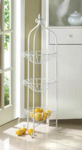 white 3 tier iron counter kitchen fruit serving bowl basket basket plant stand