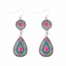 Women's Vintage Silver Bohemian Boho Style Red Color Glazed Drop Dangle Earrings