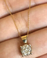 Solid Vintage 9ct Gold Diamond Necklace 0.25ct Round Cluster Chain