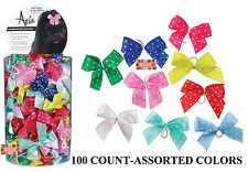 100 Multi Color SATIN POLKA DOT RIBBON DOG HAIR BOWS w/Elastic Groomer Grooming