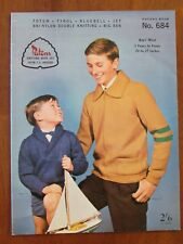 "PATONS KNITTING - 684 BOYS' JUMPER JACKET 5Yrs - TEENS 24-37"" 8 - 12 PLY"