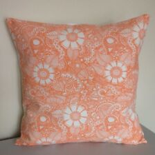 Handmade Cushion Cover: Orange & White Floral Design 16""