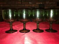 """4 Bartlett Collins Green Thumbprint Goblet Pressed Glass 6"""" Coin Chalice 16oz"""