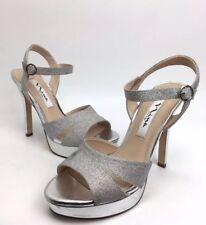 NINA 'Shara YY' Silver glitter women high heels sandals Sz. 6M