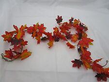 Artificial Maple Leaf Garland 180cm Red Orange and Brown -  Autumn