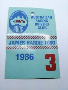 1986 JAMES HARDIE 1000 PADDOCK PASS