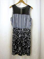 BCBG Max Azria Blk Wht Sheer Striped Pleated Dress Sleeveless Belt Women's Sz M