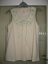 LADIES SIZE 12 NEXT  CREAM PRETTY TOP WITH STITCHING AND BUTTON DESIGN